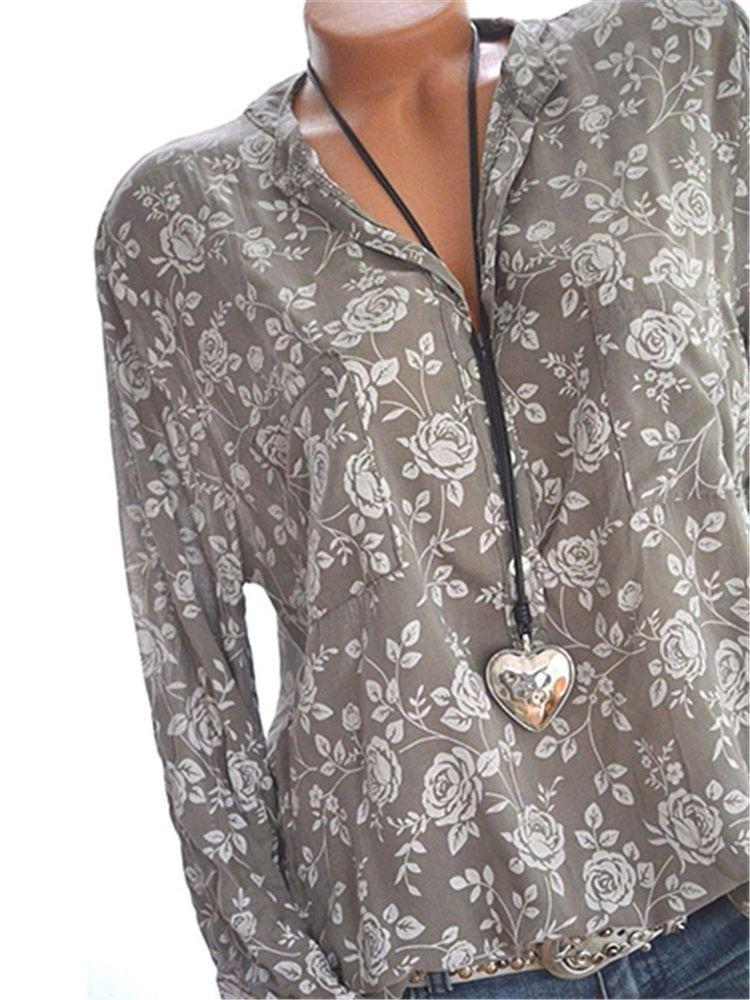 Women Long Sleeve V-neck Printed Loose Soft Blouse Tops