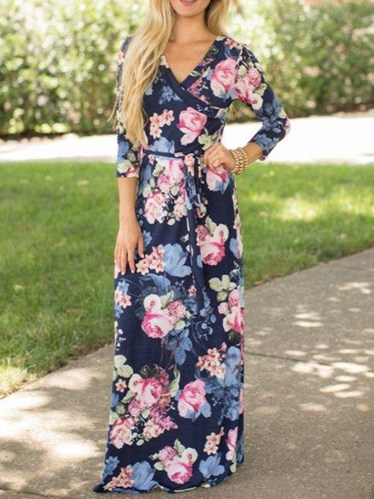 Women Long Sleeve V-neck Floral Printed Maxi Dress for Vacation