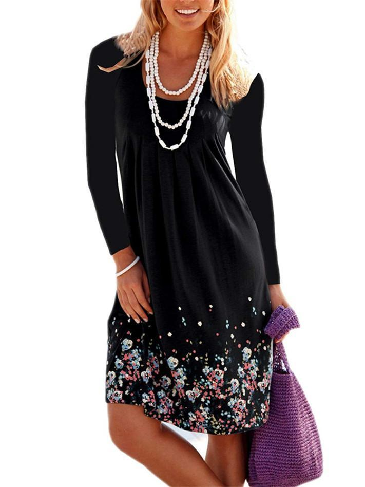 Long Sleeve Printed Loose Dress