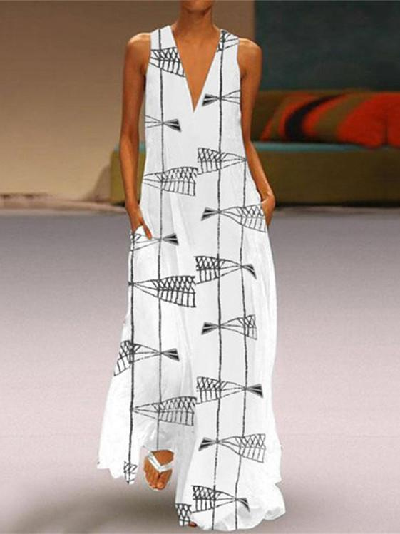 Women Printed V-neck Sleeveless Maxi Dress
