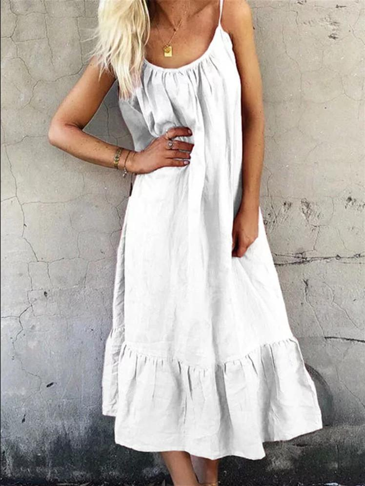 Women Sling Dress Scoop Neck Sleeveless Linen Maxi Dress