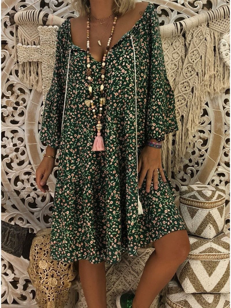 Women Floral Printed Loose Long sleeve V-neck Dress