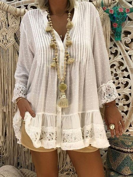 Women's Fashion Casual Long sleeved Hollow Lace Chiffon Tops Plus Size
