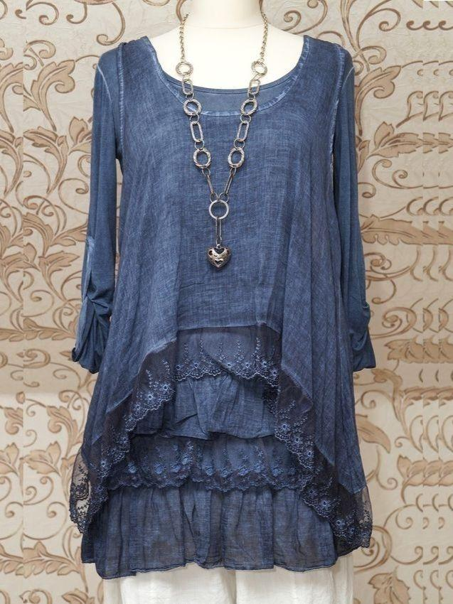 STUNNING BLUE 2PIECE TUNIC DRESS QUIRKY ITALIAN LAGENLOOK/LAYERING TOP Round-neck Long Sleeve Tops