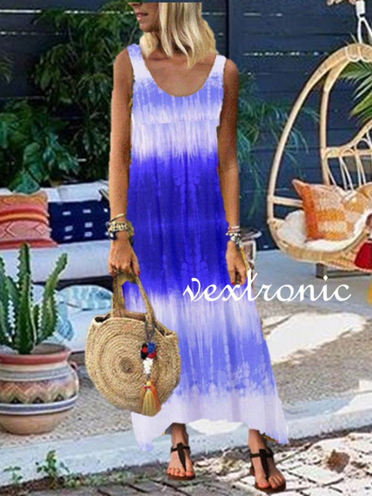 Women U-neck Sleeveless Gradient Maxi Dress