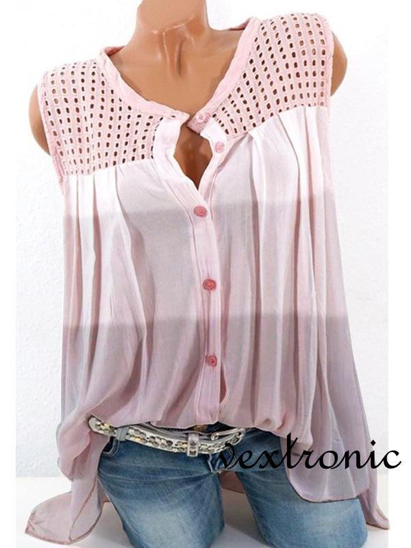 Women Casual Loose  Sleeveless Gradient Color Hollow Tops