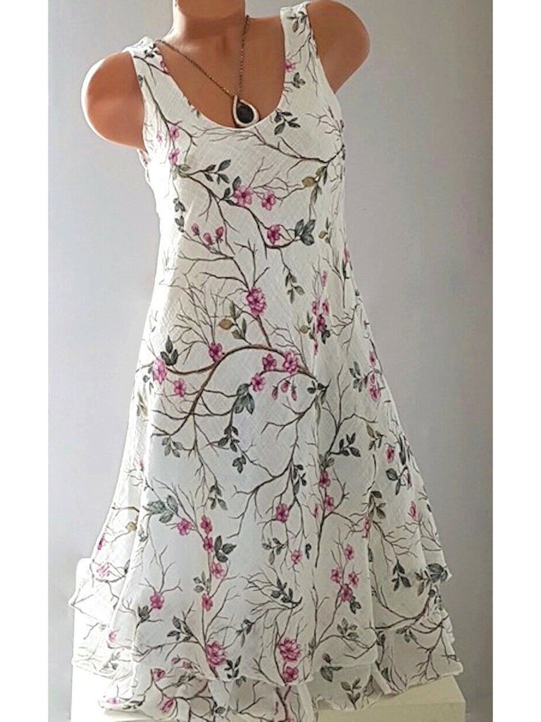 Women Floral Printed Sleeveless Scoop Neck White Dress