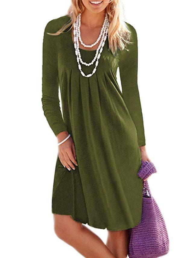 Women Loose Fashion Casual Round-neck Long Sleeve Dress Plus Size Dress