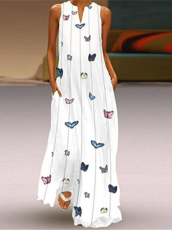 Women's Summer Casual V Neck Loose Printed Long Dress Sleeveless Maxi Dress with Pockets