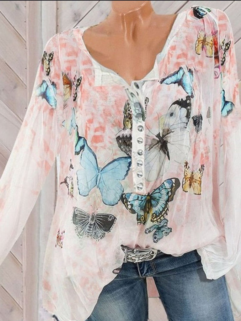 Women Long Sleeve Printed V-neck Button Top Chiffon Blouse