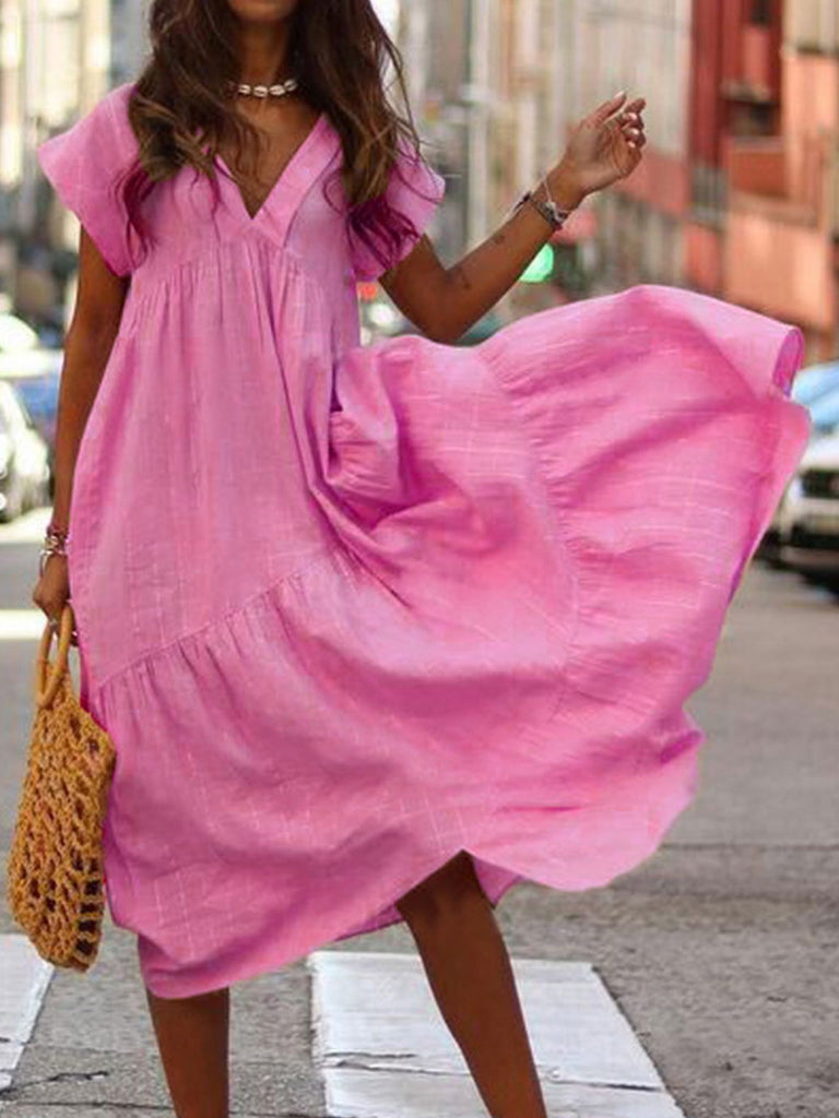 Women V-neck Short Sleeve Maxi Dress Beach Dress