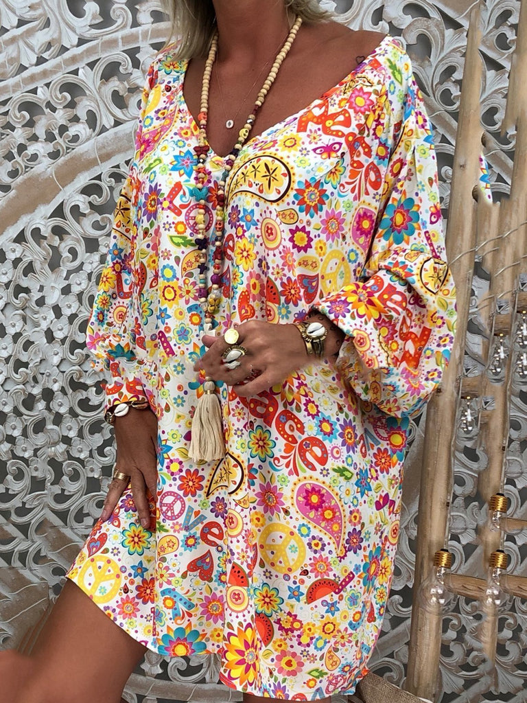 Women V-neck Printed Long Sleeve Dress