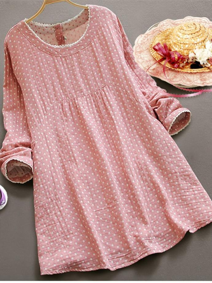 Women Round Neck Dot Printing Long Sleeve Loose Dress