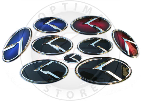 "Kia 3.0 K Logo Emblem Sets ""Chrome Edition"""