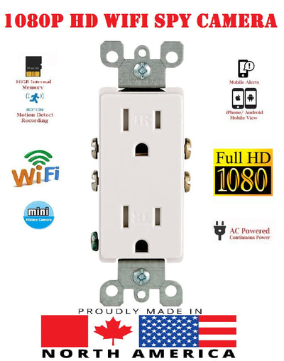 1080P WIFI IP HIDDEN SPY CAMERA ORIGINAL HOUSE AC WALL RECEPTACLE-SPYMODS