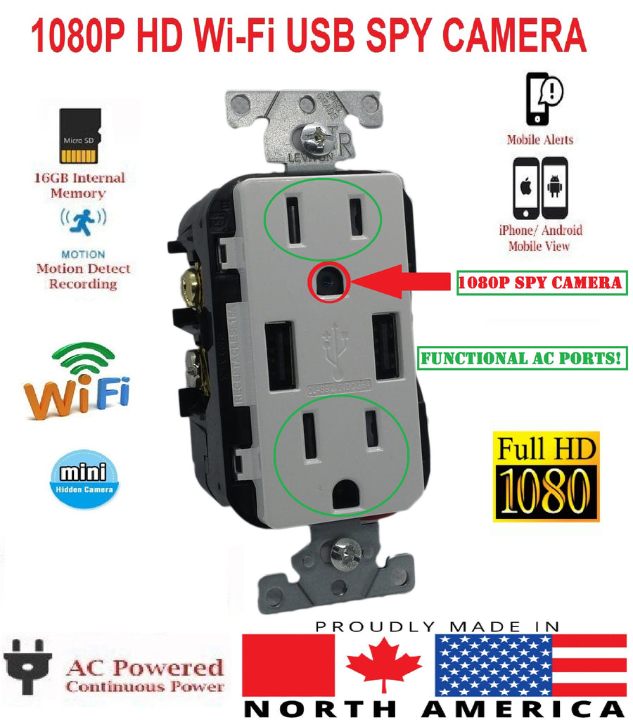 1080P WIFI IP HIDDEN SPY CAMERA WORKING USB AC WALL OUTLET RECEPTACLE-SPYMODS
