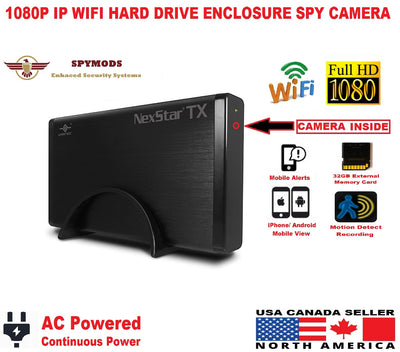 Hidden Covert WIFI 1080P IP External Hard Drive Enclosure Nanny Pinhole Camera-SPYMODS