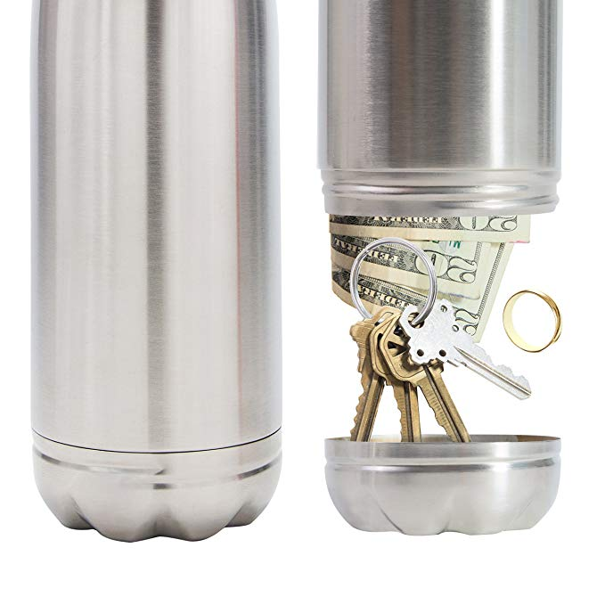 Stainless Steel Diversion Secret Safe Drinking Water Bottle-SPYMODS