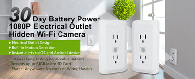 Stick ON WIFI Battery Powered WALL OUTLET 1080P IP SPY CAMERA-SPYMODS