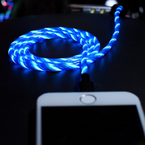 Glowing Flowing LED Light Indicator USB Charging Data Cable for Android or iOS!-SPYMODS