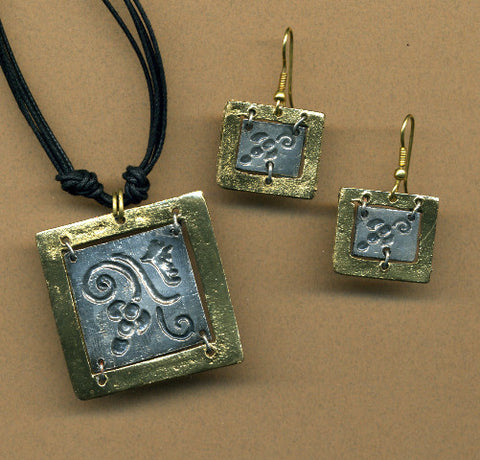 Whimsy Square Necklace and Earrings in Brass & Antique Silver
