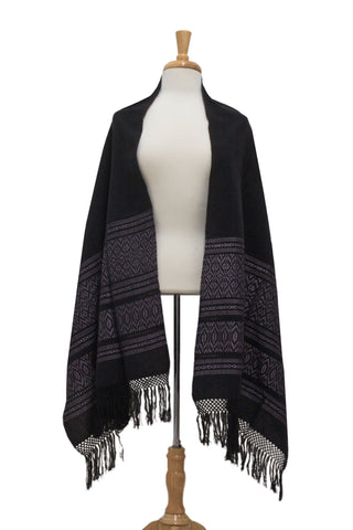 Zapotec cotton rebozo shawl, 'Black Zapotec Treasures'