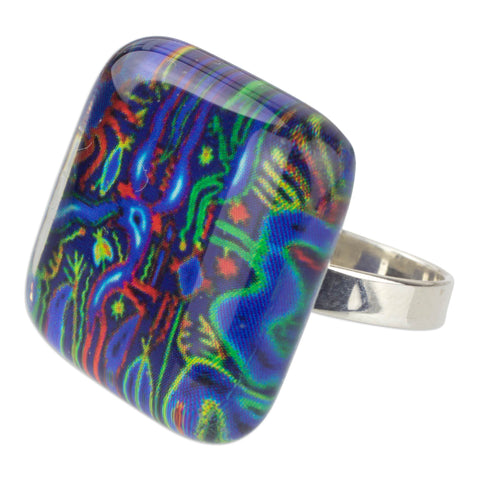 'Blue Huichol' 925 Silver Cocktail Ring with Art Glass