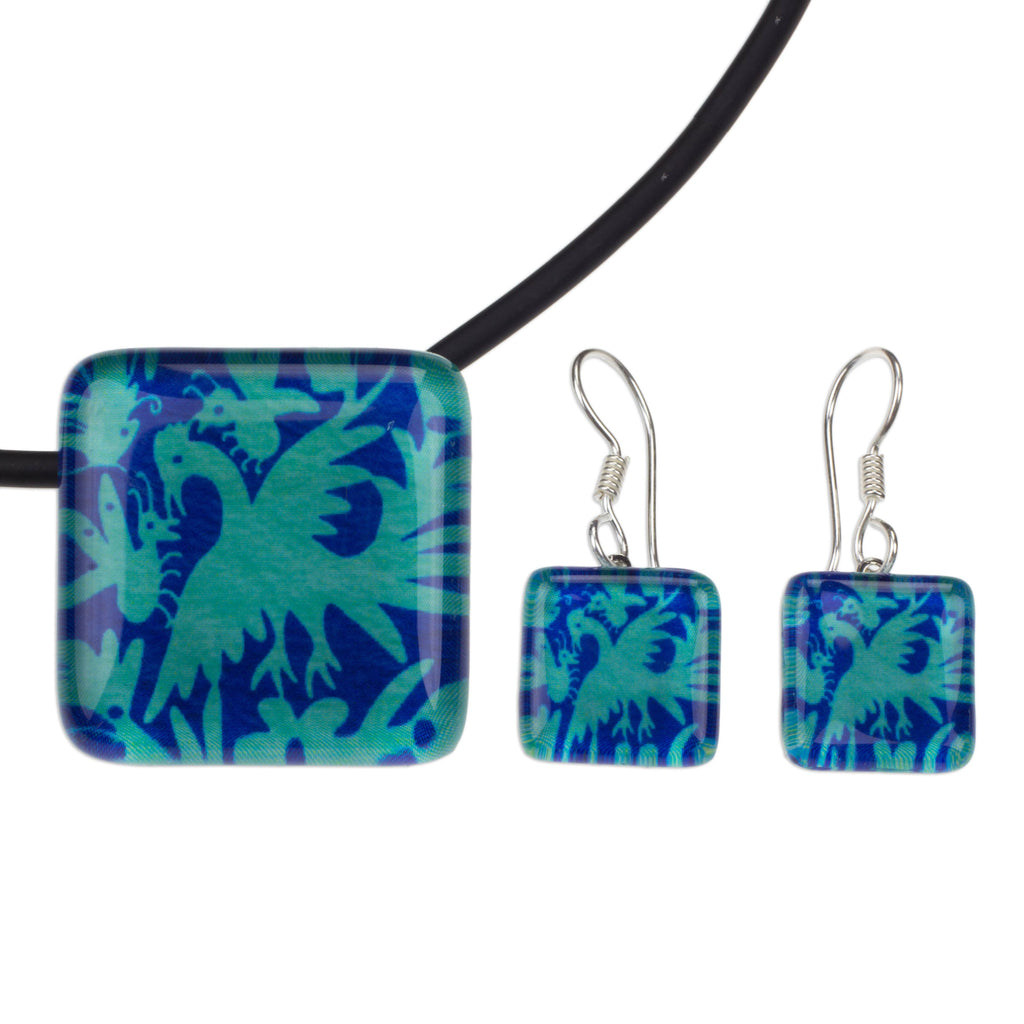 'Blue Tenango' Artisan Crafted Art Glass Jewelry Set