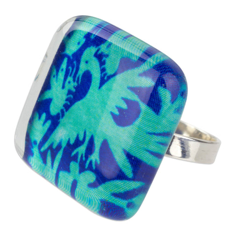 'Blue Tenango' Art Glass & Silver Ring