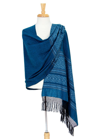 Zapotec cotton rebozo shawl, 'Blue Zapotec Treasures'
