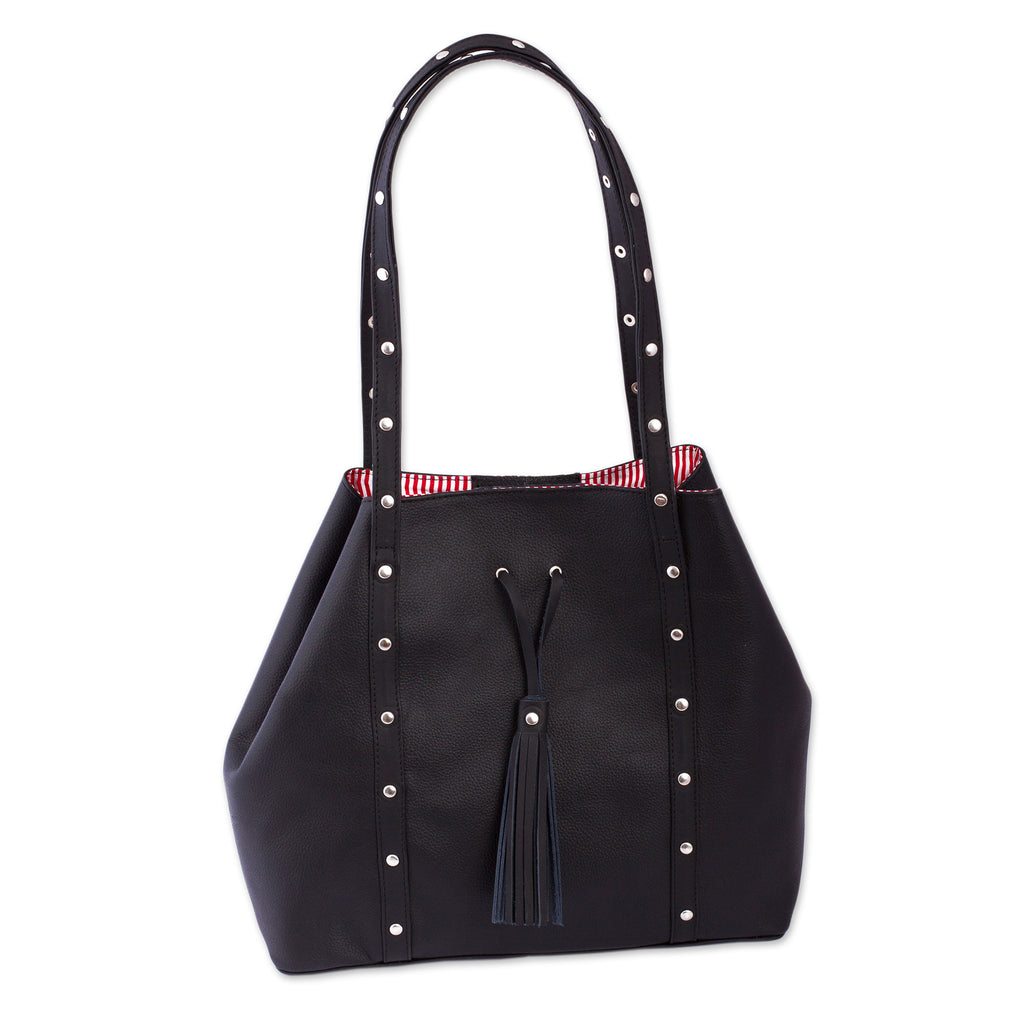 'Confidence' Black Leather Shoulder Bag with Red Striped Lining