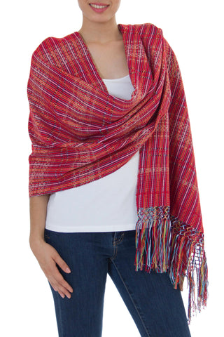 'Crimson Journeys' 100% Cotton Shawl Crimson Stripes from Mexico