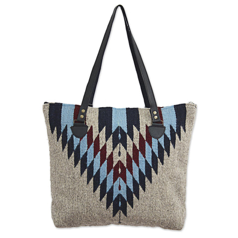 'Diamond Bliss' Wool Shoulder Bag with Geometric Diamond Pattern and Leather