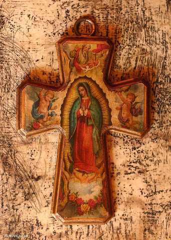 'Guadalupe Queen of Heaven' Crafted Wood Cross