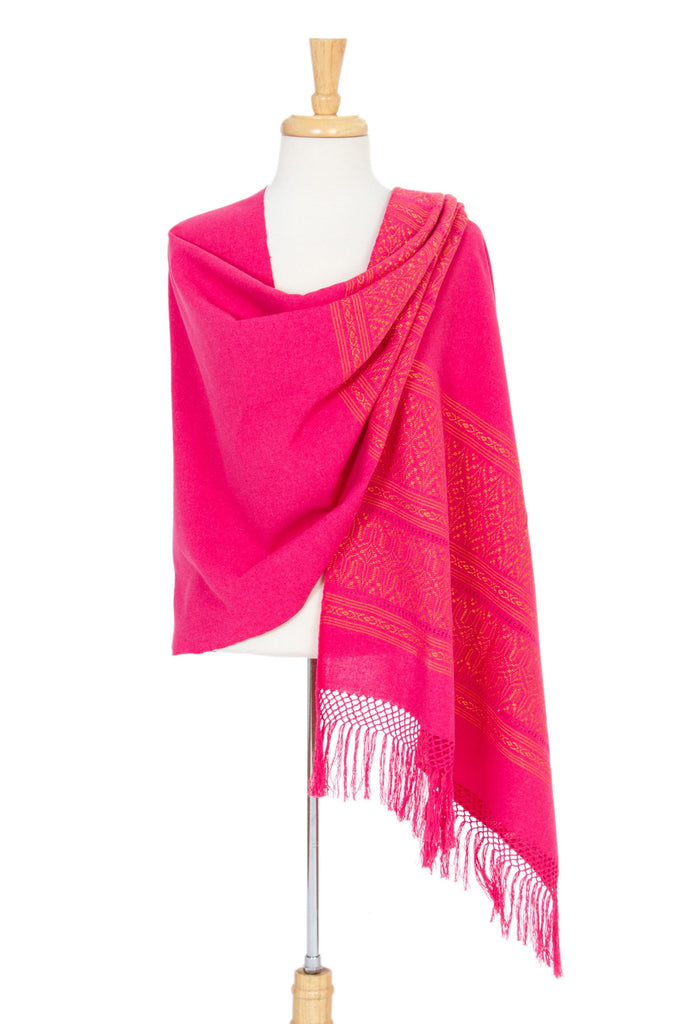 Zapotec cotton rebozo shawl, 'Coral Zapotec Treasures'