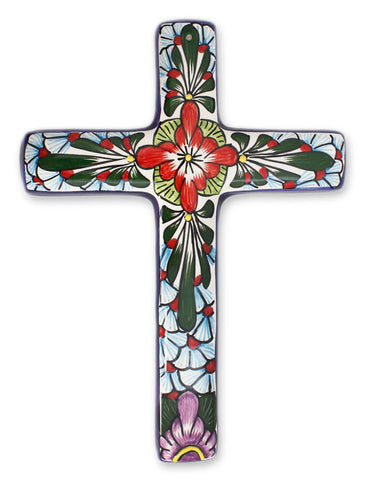Ceramic cross 'Jerusalem Rose'