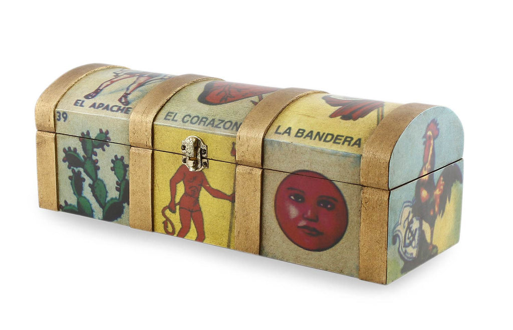 Decoupage box, 'Mexican Lottery Game'