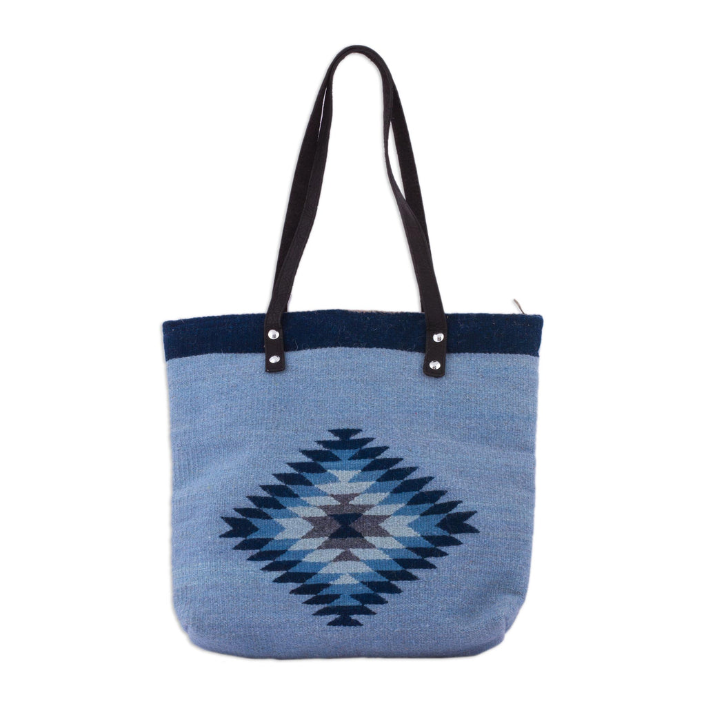 'Mexican Sky' Blue Wool and Leather Accent Tote Handbag