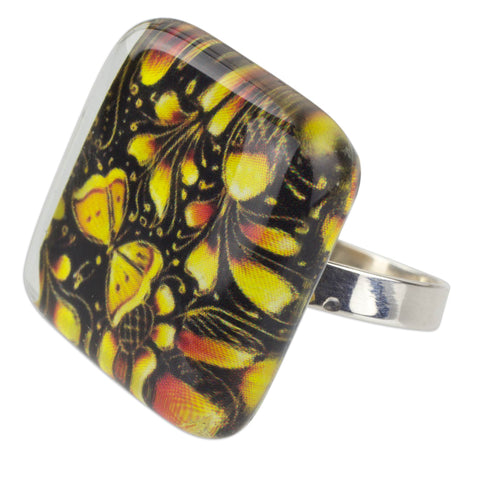 'Michoacan Wonder' Hand Crafted Art Glass Silver Ring