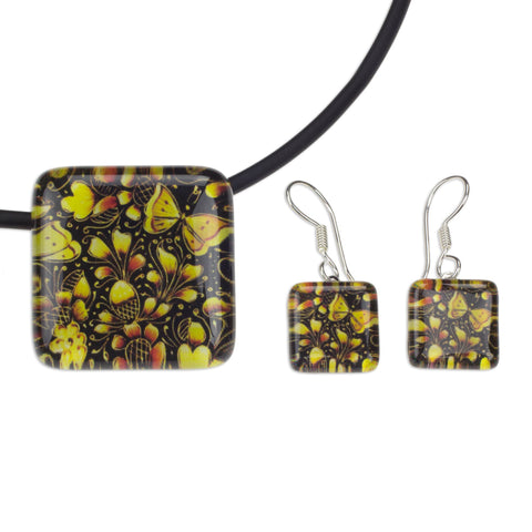 'Michoacan Wonder' Hand Crafted Art Glass Jewelry Set