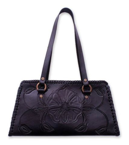 'Midnight Rose' Handcrafted Floral Leather Shoulder Bag