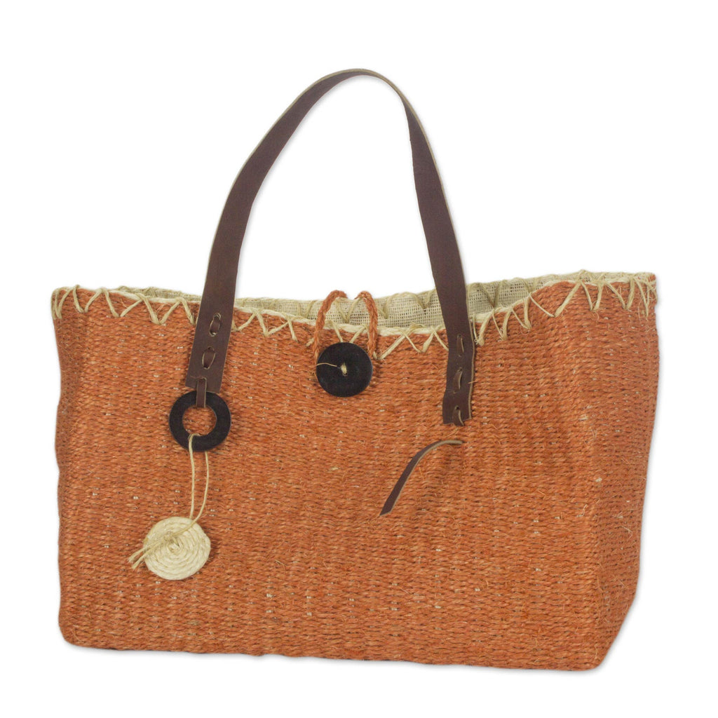 'Milagros Chumuyche' Hand Woven Orange Agave Hand Bag with Leather Handles
