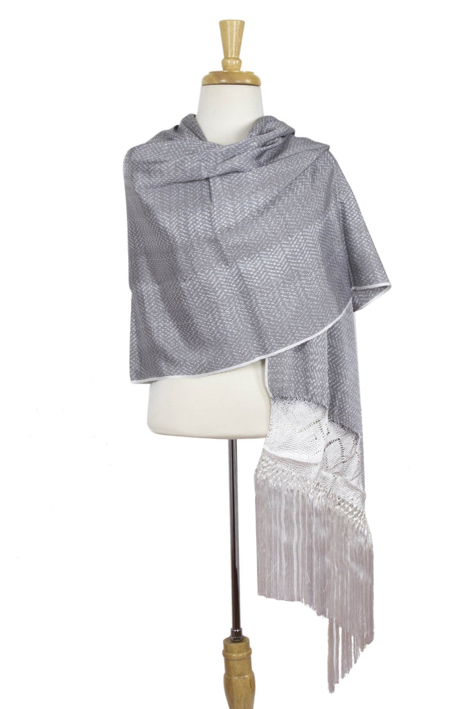 'Myth of Starlight' Hand Woven White-Grey Mexican Rebozo Shawl