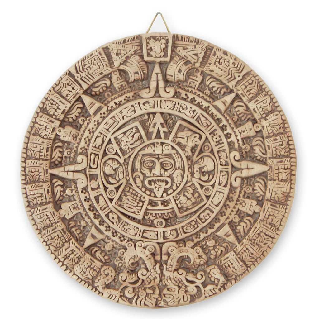 'Natural Aztec Sun Stone' Ceramic plaque