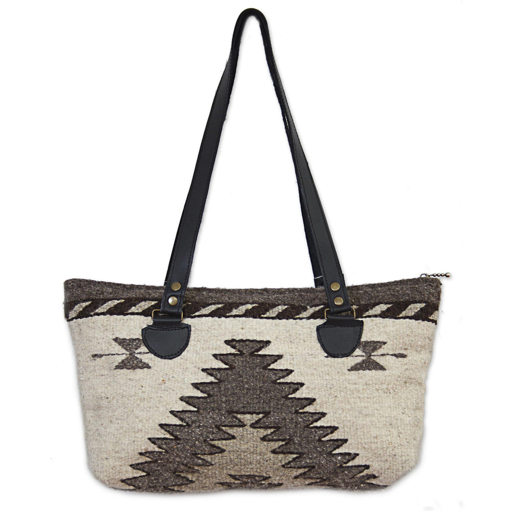 'Natural Gems' in Antique White Hand Made Wool Tote Handbag