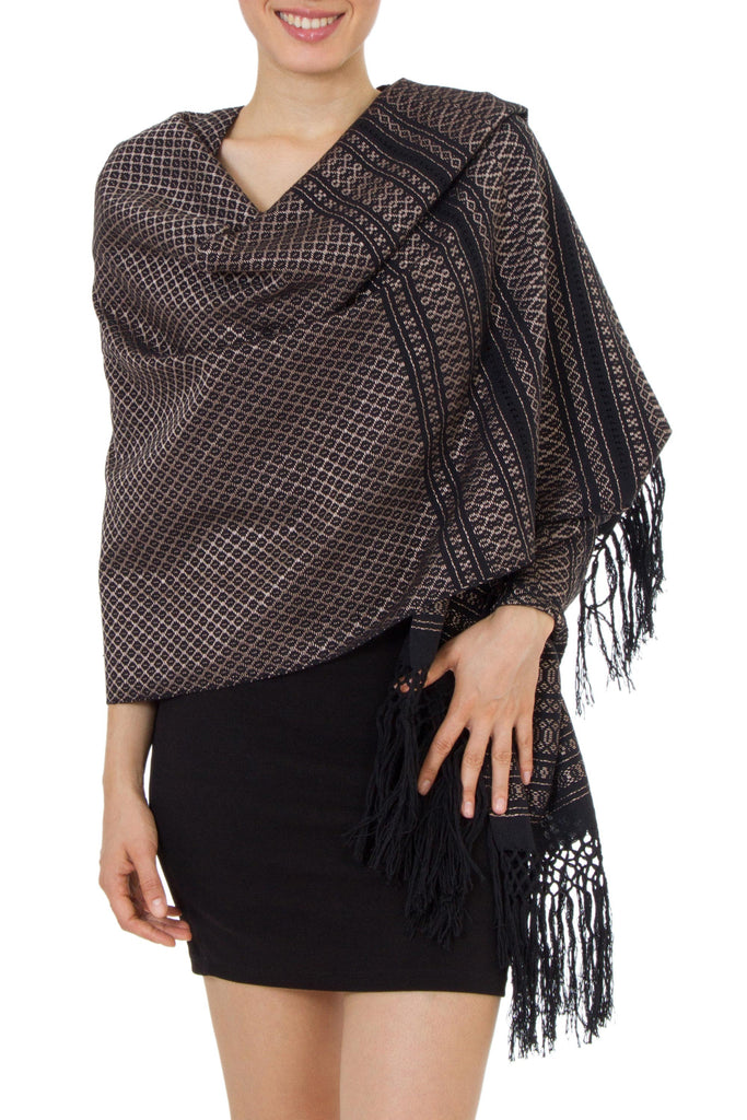 'Night of Golden Stars' Handwoven Black Cotton Rebozo Shawl with Golden Accents