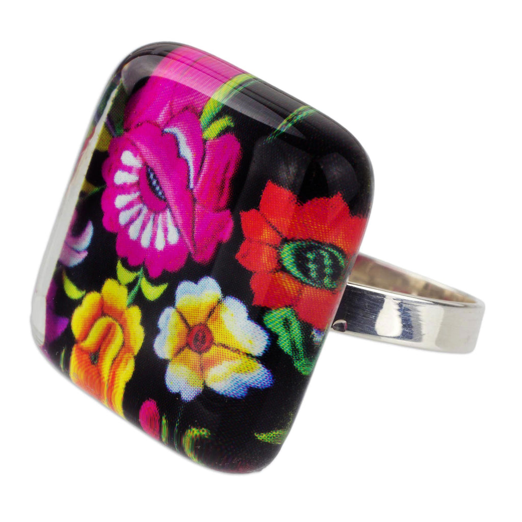 'Oaxaca Bouquet' Art Glass Artisan Crafted Cocktail Ring