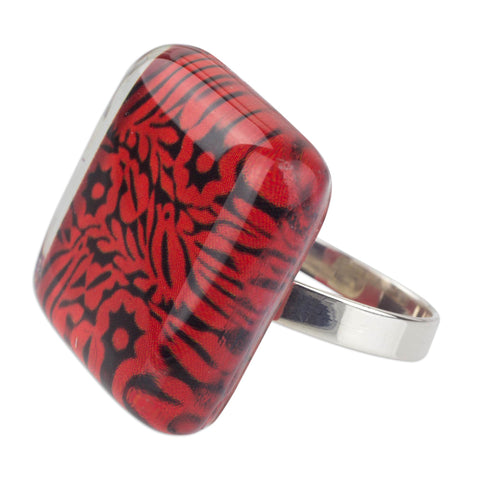 'Oaxaca Dreams' Red Birds and Flowers on Art Glass Cocktail Ring