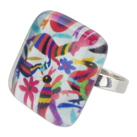 'Otomi Fantasy' Multicolor Art Glass Cocktail Ring