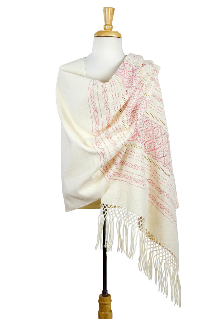 'Pink Stars of Teotitlan' Cotton Handwoven Zapotec Rebozo Shawl